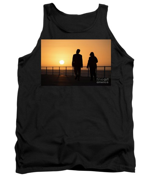 A Couple In Silhouette Walking Into The Sunset Tank Top