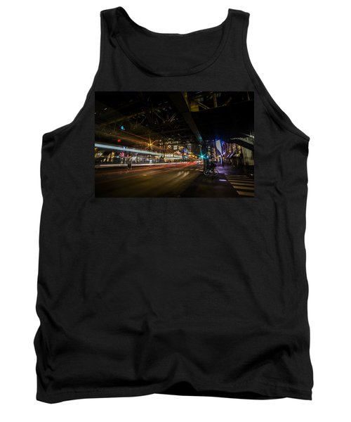 a nighttime look at Chicago's busy State and Lake Intersection Tank Top