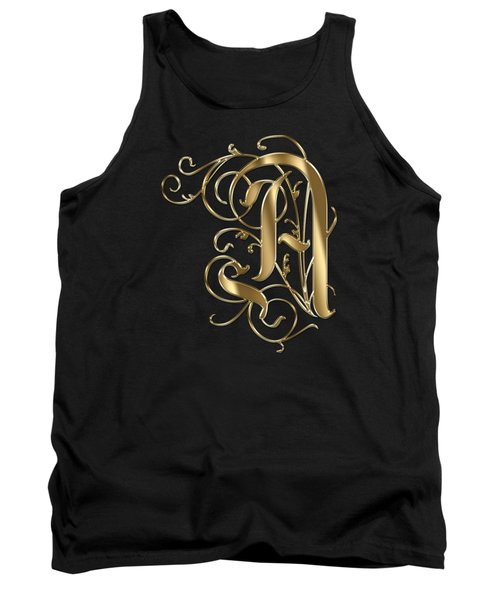 A Ornamental Letter Gold Typography Tank Top