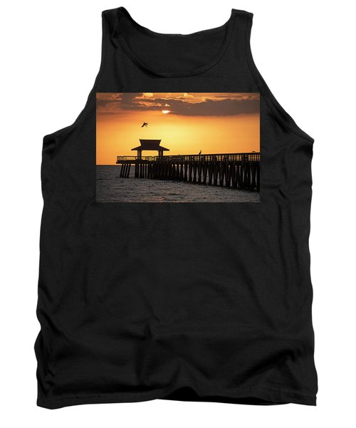 A Pelican Dive-bomb At The Naples Pier Naples Fl Tank Top