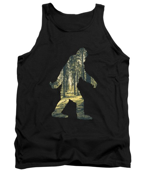 A Sasquatch Bigfoot Silhouette Hiking The Woodlands Deep Forest Tank Top