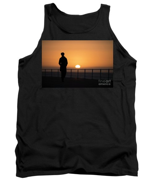 A Woman Silhouetted At Sunset Tank Top