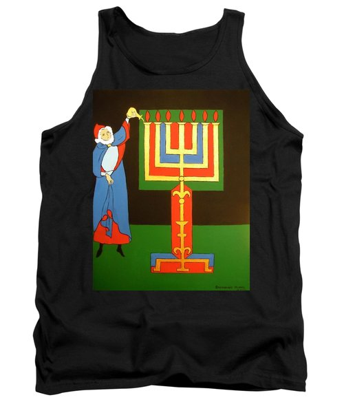 Tank Top featuring the painting Aaron Lighting The Menorah by Stephanie Moore