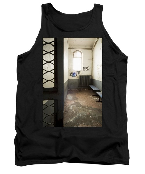 Abandoned Prison Cell With Grafitti Of Eye On Wall Tank Top by Dirk Ercken