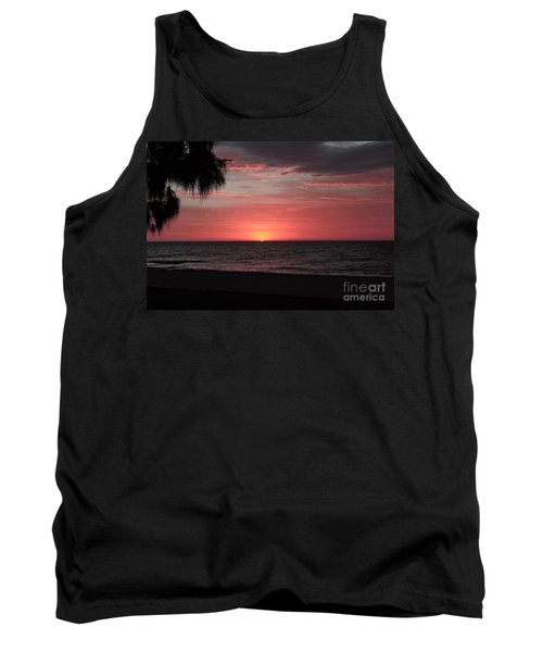 Abstract Beach Palm Tree Sunset Tank Top