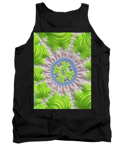 Tank Top featuring the digital art Abstract Fractal Art Greenery Rose Quartz Serenity by Matthias Hauser