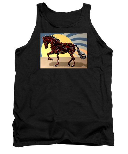 Abstract Geometric Futurist Horse Tank Top by Mark Webster
