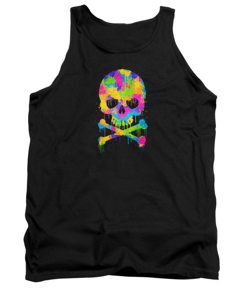 Abstract Trendy Graffiti Watercolor Skull  Tank Top by Philipp Rietz