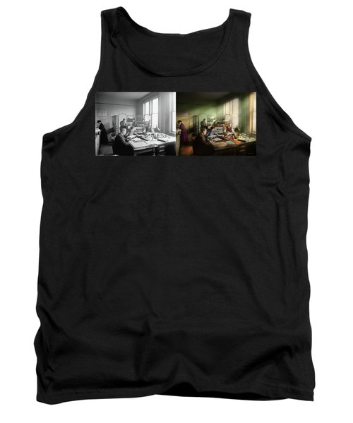 Tank Top featuring the photograph Accountant - The- Bookkeeping Dept 1902 - Side By Side by Mike Savad