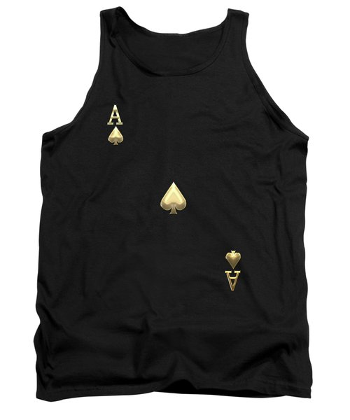 Ace Of Spades In Gold On Black   Tank Top by Serge Averbukh