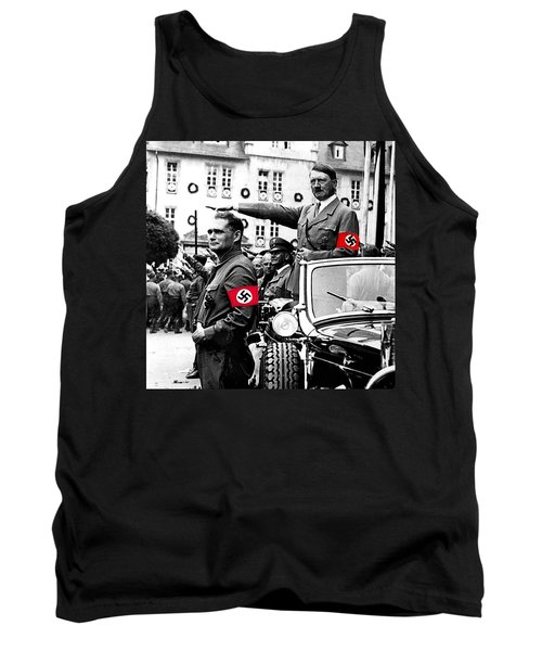 Adolf Hitler Giving The Nazi Salute From A Mercedes #3 C. 1934-2015 Tank Top by David Lee Guss