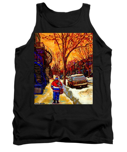 After The Hockey Game A Winter Walk At Sundown Montreal City Scene Painting  By Carole Spandau Tank Top