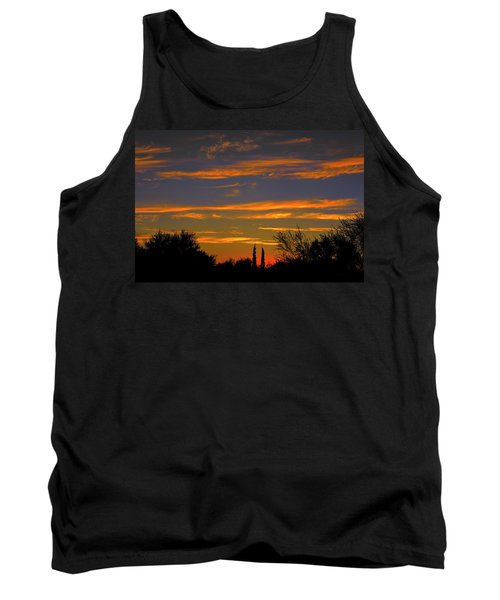 Tank Top featuring the photograph Afterglow Silhouette H49 by Mark Myhaver