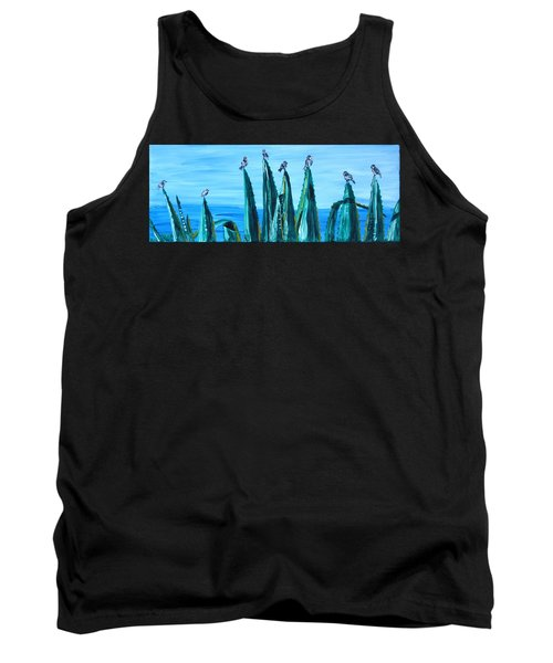 Agave With Sparrows Tank Top by Valerie Ornstein