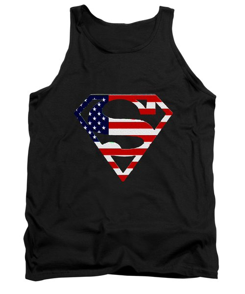 American Flag Superman Shield Tank Top by Bill Cannon
