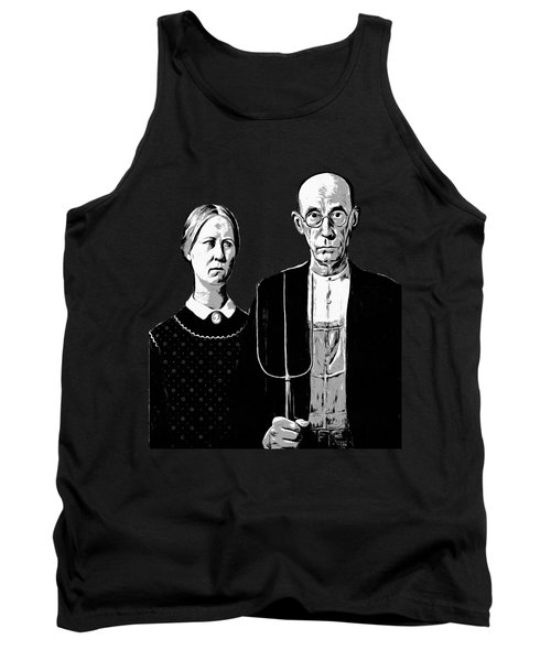 American Gothic Graphic Grant Wood Black White Tee Tank Top