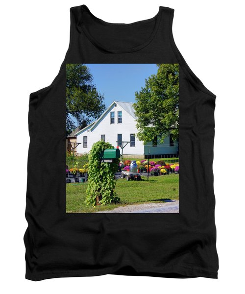 Tank Top featuring the photograph Amish House With Mums by Cricket Hackmann