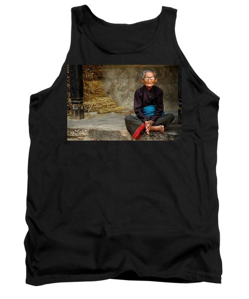 An Old Woman In Bhaktapur Tank Top by Valerie Rosen