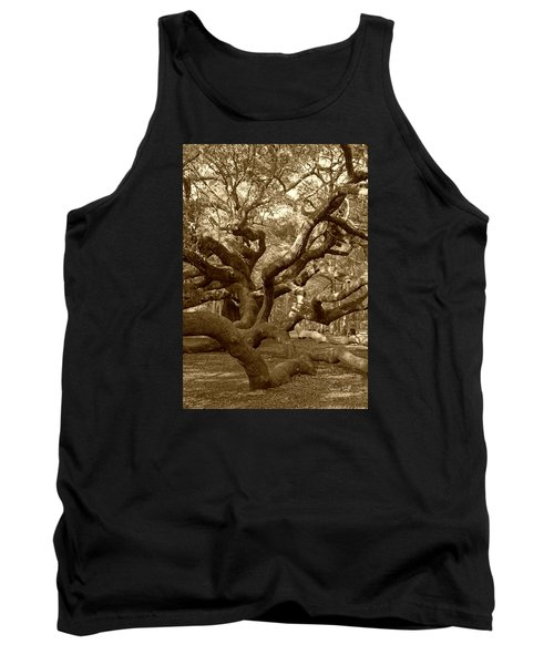 Angel Oak In Sepia Tank Top by Suzanne Gaff