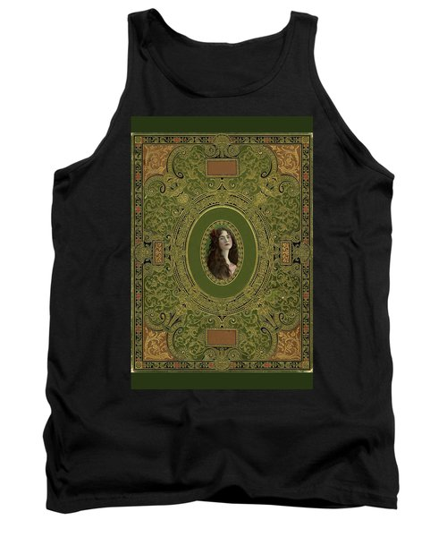 Antique Book Cover With Cameo - Green And Gold Tank Top