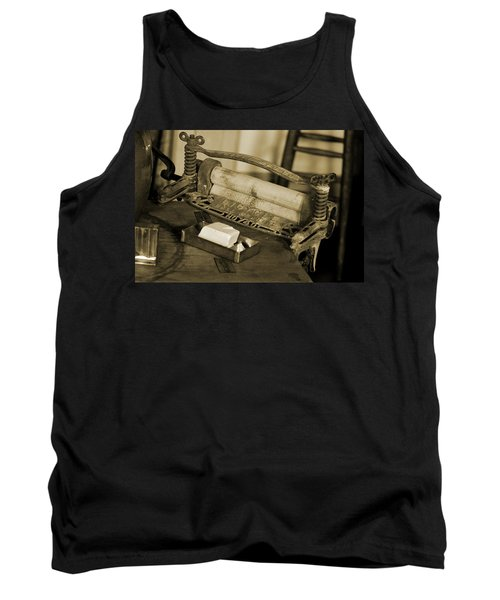Antique Laundry Ringer And Handmade Lye Soap In Sepia Tank Top