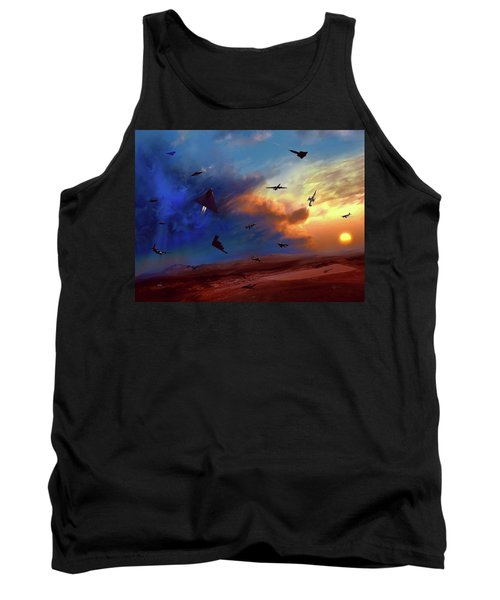 Tank Top featuring the painting Area 51 Groom Lake by Dave Luebbert