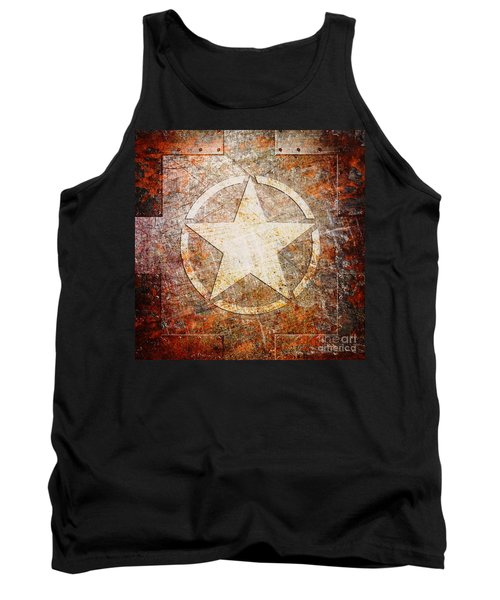 Army Star On Rust Tank Top
