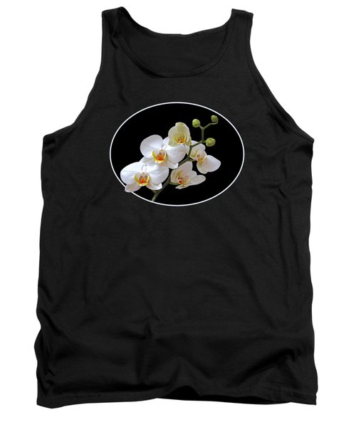 White Orchids On Black Tank Top by Gill Billington