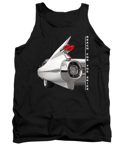 Reach For The Skies - 1959 Cadillac Tail Fins Black And White Tank Top