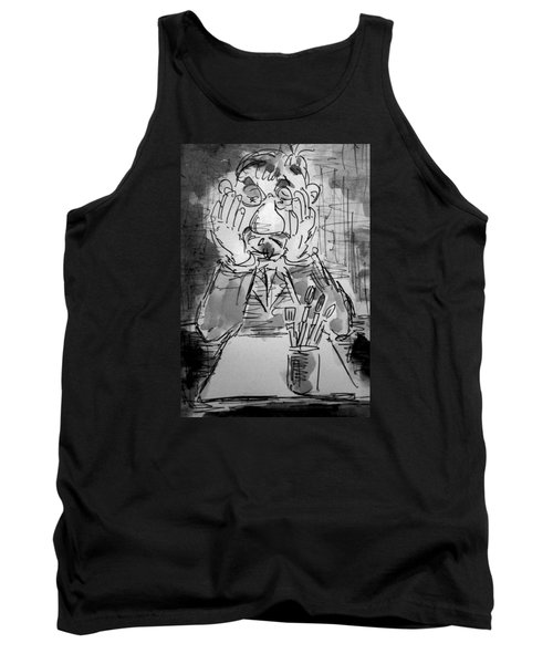 Tank Top featuring the painting Old Geezer Grappling With A White Sheet Of Paper by Alfred Motzer
