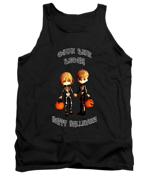 Tank Top featuring the digital art Skeleton Twinz Halloween by Methune Hively