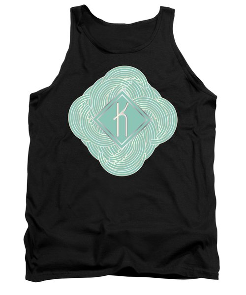 1920s Blue Deco Jazz Swing Monogram ...letter K Tank Top by Cecely Bloom