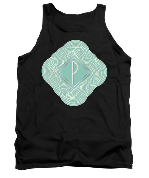 1920s Blue Deco Jazz Swing Monogram ...letter P Tank Top by Cecely Bloom