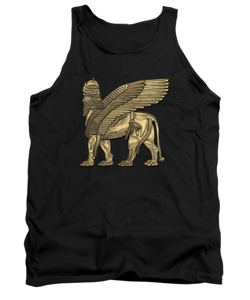 Assyrian Winged Lion - Gold Lamassu Over Black Canvas Tank Top