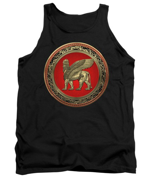Assyrian Winged Lion - Gold Lamassu Over Black Velvet Tank Top