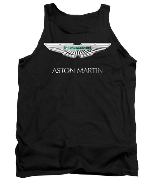 Aston Martin 3 D Badge On Black  Tank Top
