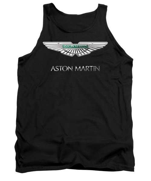 Aston Martin 3 D Badge On Black  Tank Top