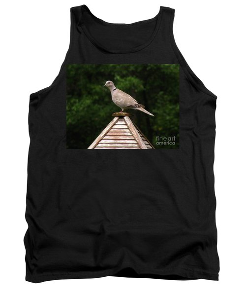 At The Top Of The Bird Feeder Tank Top by Donna Brown