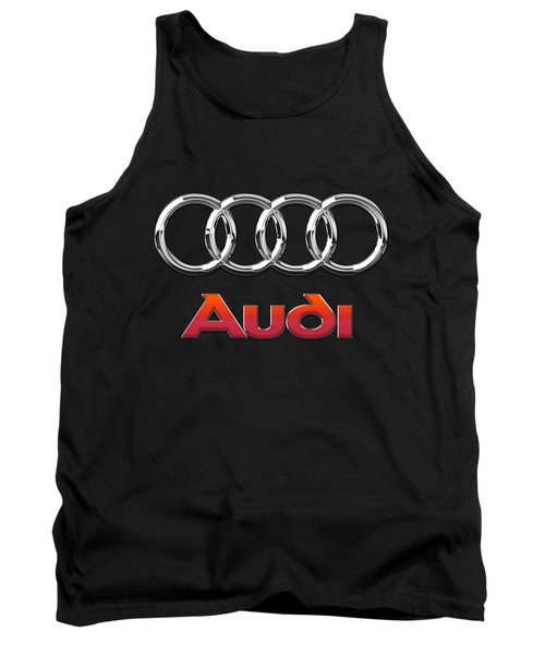 Audi 3 D Badge On Black Tank Top by Serge Averbukh