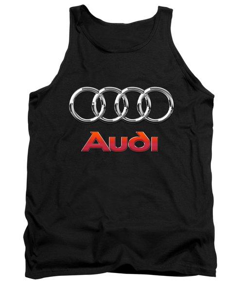 Audi 3 D Badge On Black Tank Top