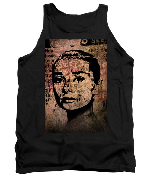 Tank Top featuring the mixed media Audrey Hepburn #7 by Kim Gauge