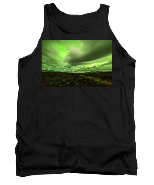 Aurora Borealis Over A Frozen Lake Tank Top by Joe Belanger
