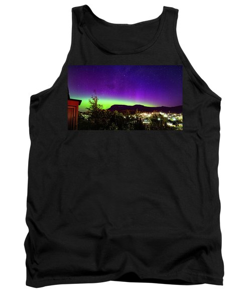 Tank Top featuring the photograph Aurora Over Mt Wellington, Hobart by Odille Esmonde-Morgan