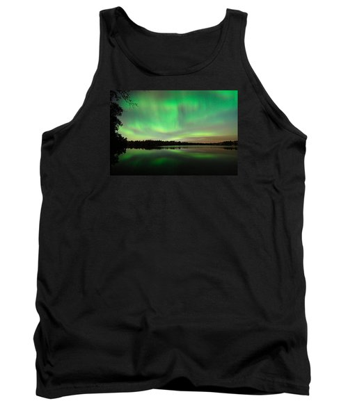 Aurora Over Tofte Lake Tank Top by Larry Ricker