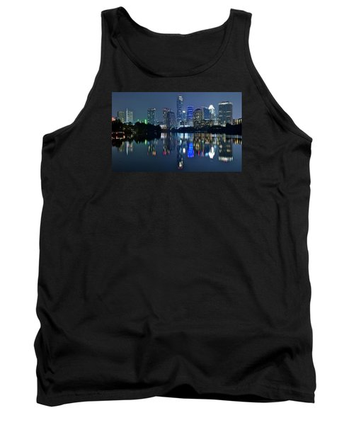 Austin Night Reflection Tank Top by Frozen in Time Fine Art Photography
