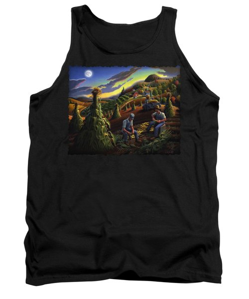 Autumn Farmers Shucking Corn Appalachian Rural Farm Country Harvesting Landscape - Harvest Folk Art Tank Top by Walt Curlee