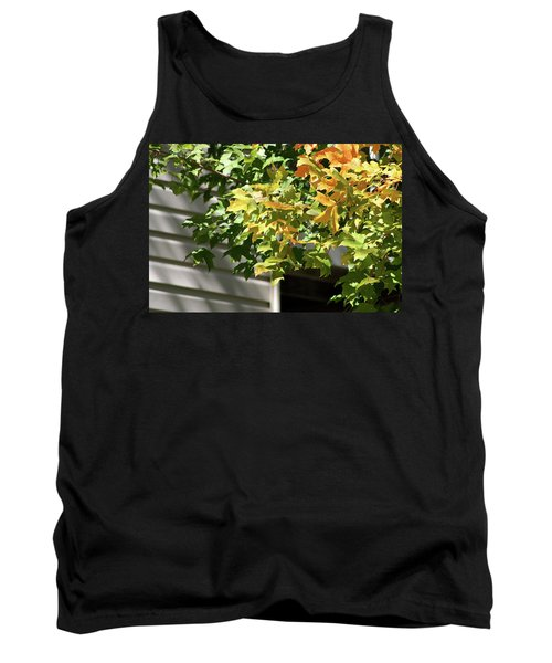 Autumn Leaves Against White Tank Top