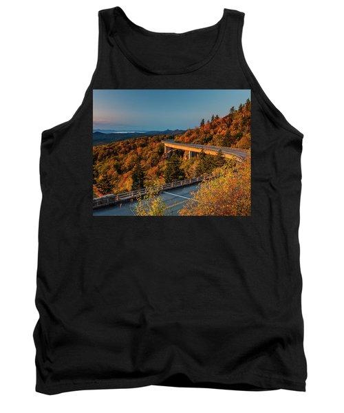 Morning Sun Light - Autumn Linn Cove Viaduct Fall Foliage Tank Top