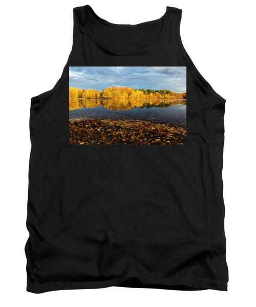 Autumn Morning Reflection On Lake Pentucket Tank Top
