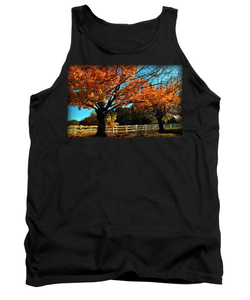 Tank Top featuring the photograph Autumn Rows by Joan  Minchak